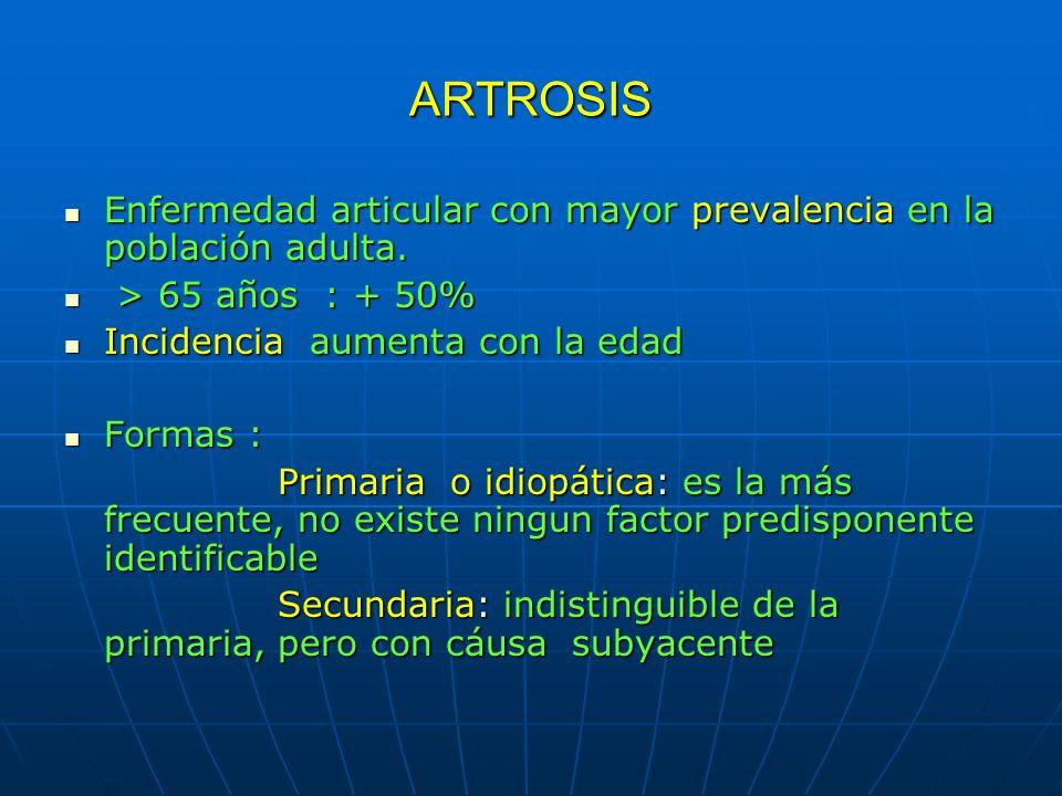ARTROSIS Enfermedad articular con mayor prevalencia en la población adulta. > 65 años : + 50% Incidencia aumenta con la edad.