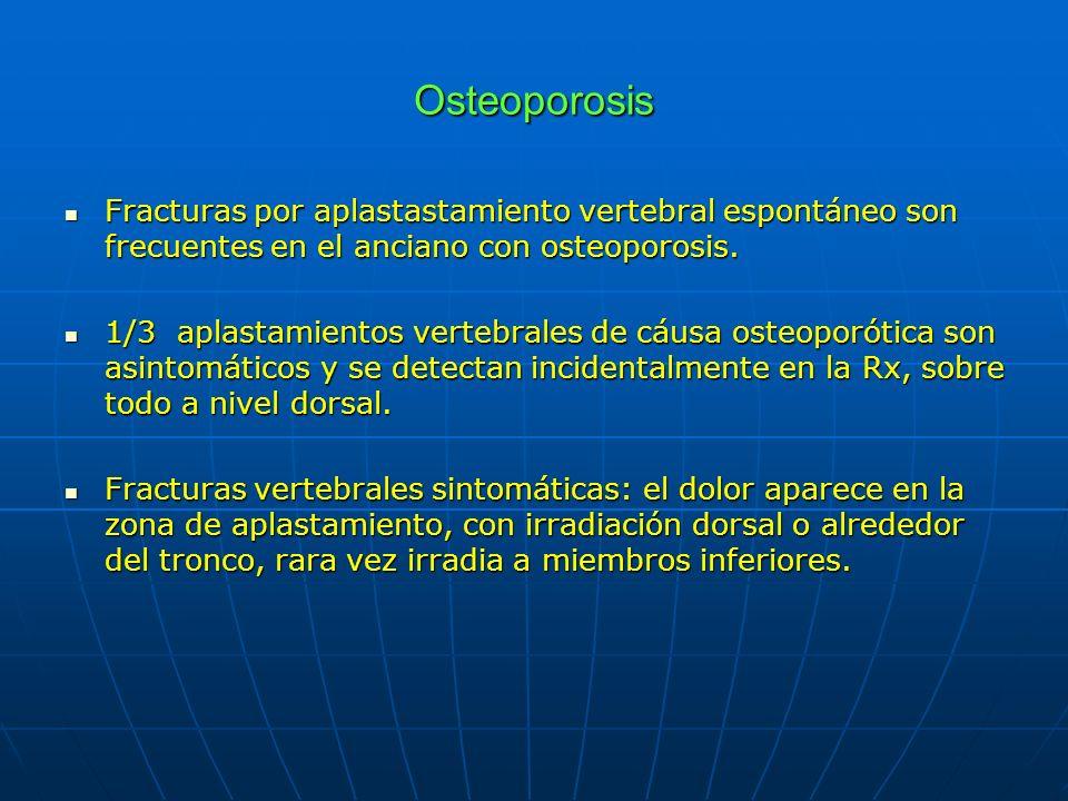 Osteoporosis Fracturas por aplastastamiento vertebral espontáneo son frecuentes en el anciano con osteoporosis.