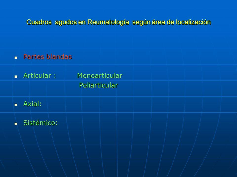 Cuadros agudos en Reumatología según área de localización