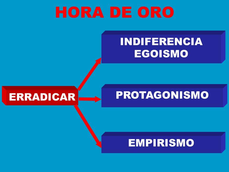 HORA DE ORO INDIFERENCIA EGOISMO PROTAGONISMO ERRADICAR EMPIRISMO