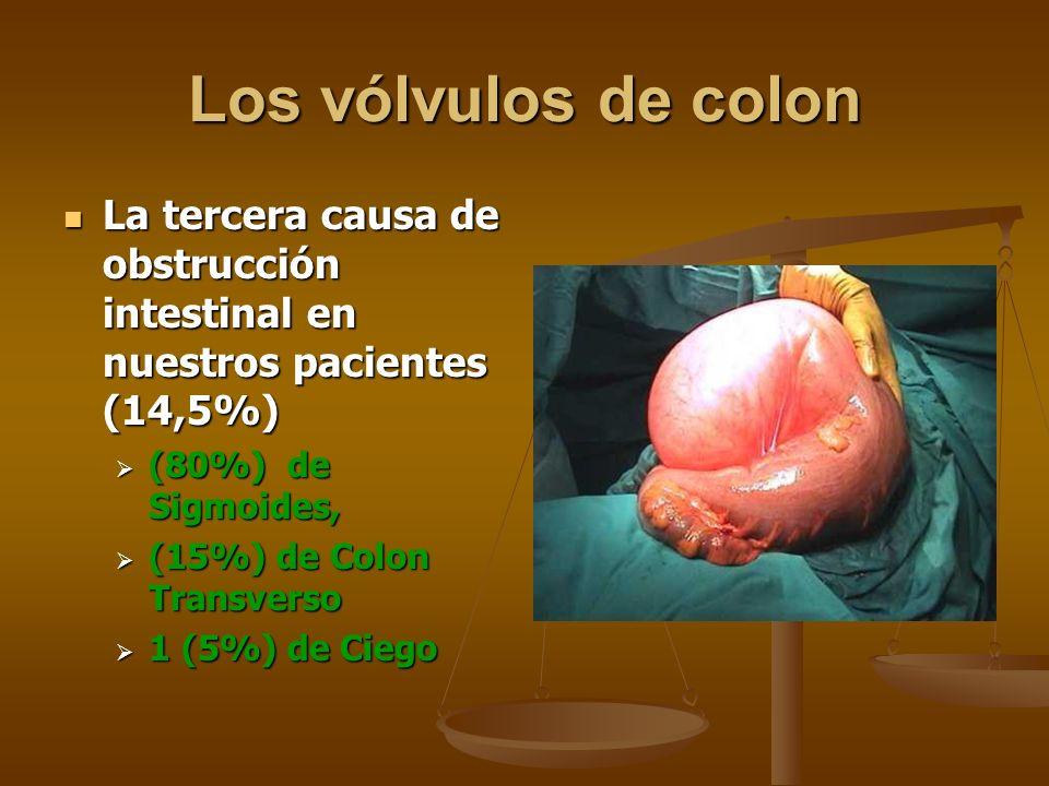 Los vólvulos de colonLa tercera causa de obstrucción intestinal en nuestros pacientes (14,5%) (80%) de Sigmoides,