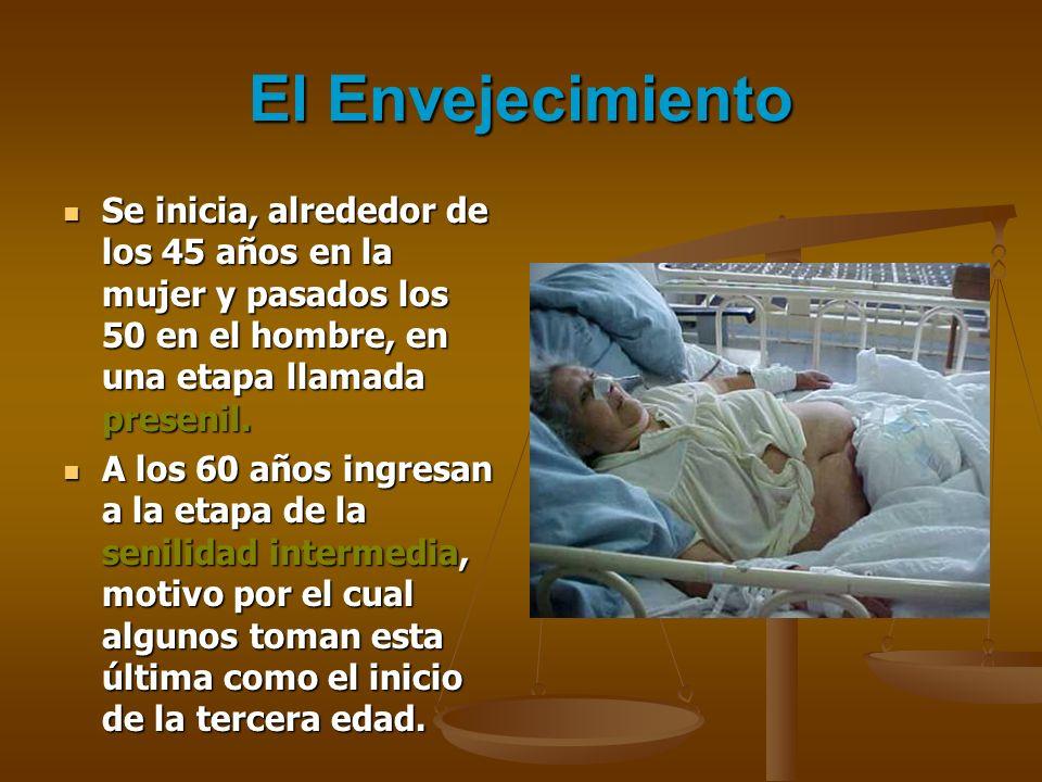 El Envejecimiento Se inicia, alrededor de los 45 años en la mujer y pasados los 50 en el hombre, en una etapa llamada presenil.
