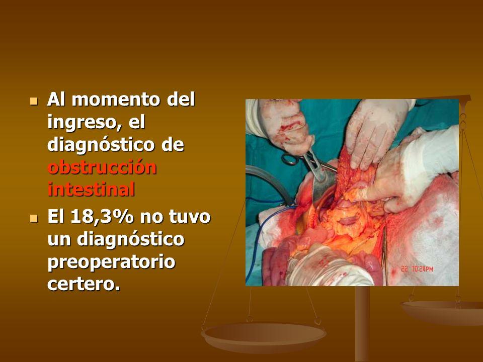 Al momento del ingreso, el diagnóstico de obstrucción intestinal