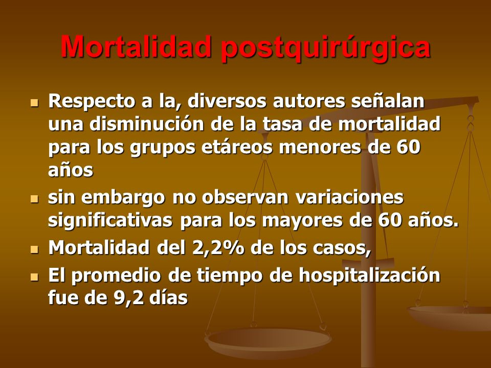 Mortalidad postquirúrgica