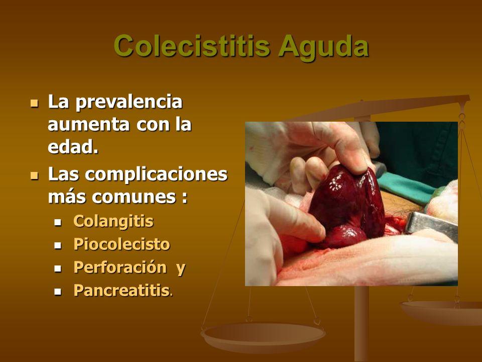 Colecistitis Aguda La prevalencia aumenta con la edad.