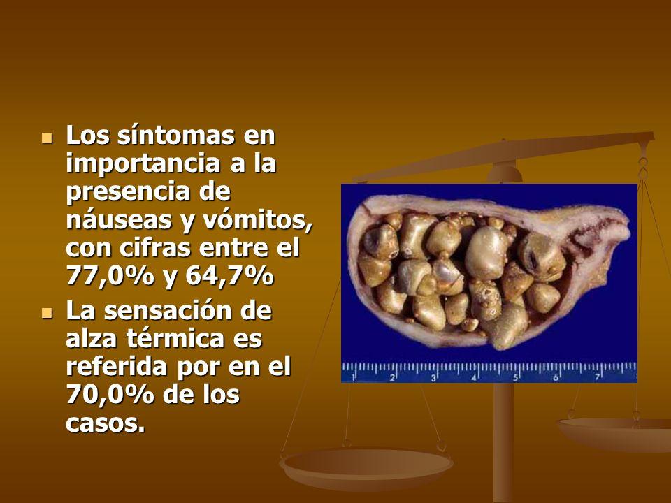 Los síntomas en importancia a la presencia de náuseas y vómitos, con cifras entre el 77,0% y 64,7%