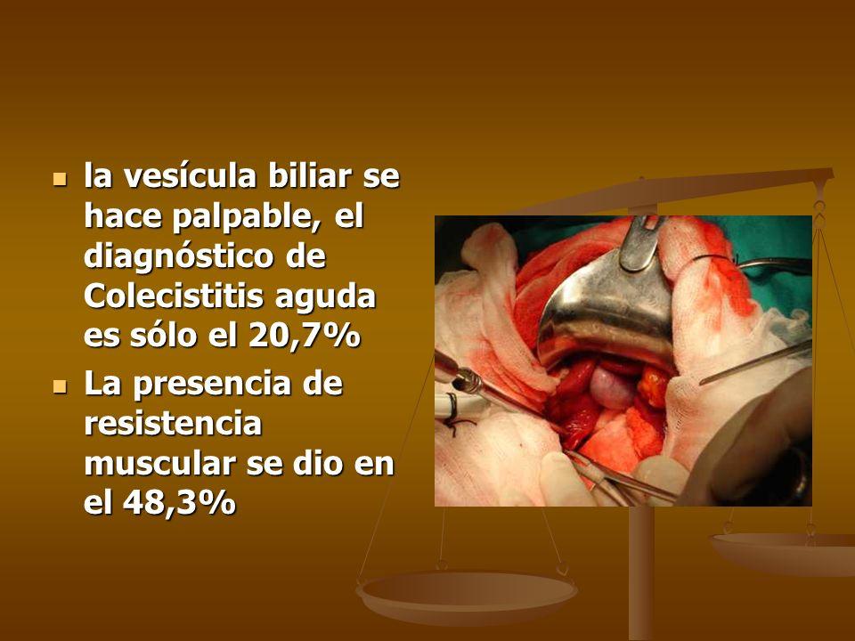 la vesícula biliar se hace palpable, el diagnóstico de Colecistitis aguda es sólo el 20,7%