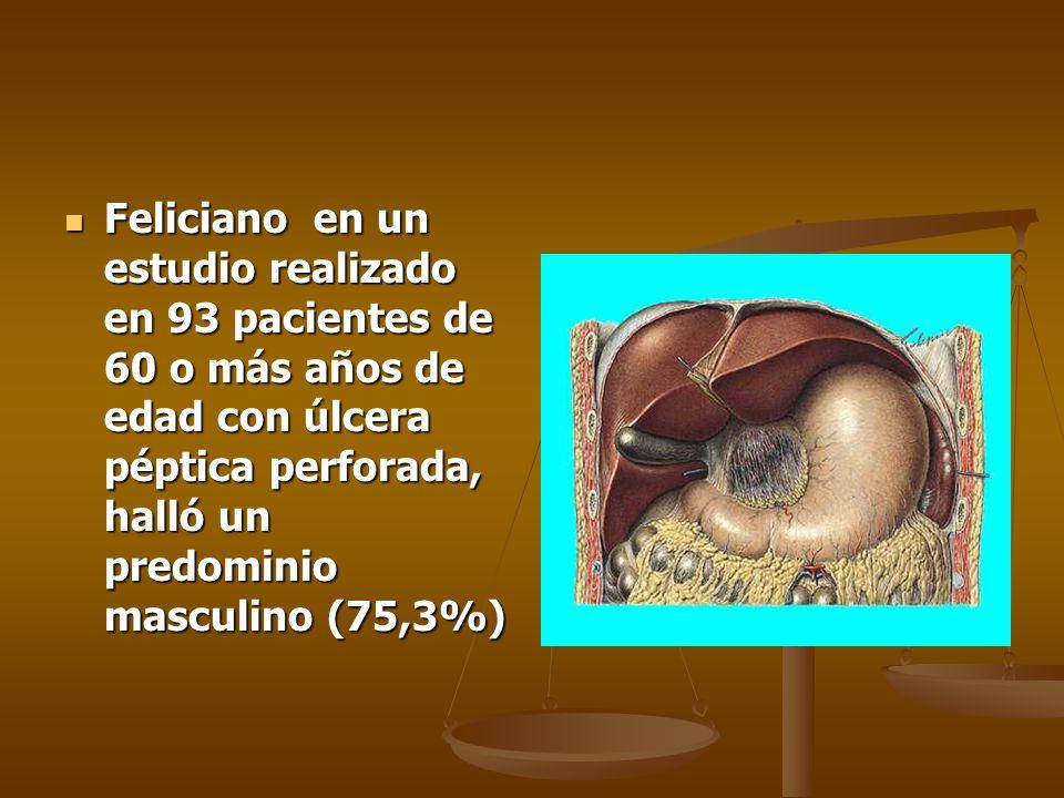 Feliciano en un estudio realizado en 93 pacientes de 60 o más años de edad con úlcera péptica perforada, halló un predominio masculino (75,3%)