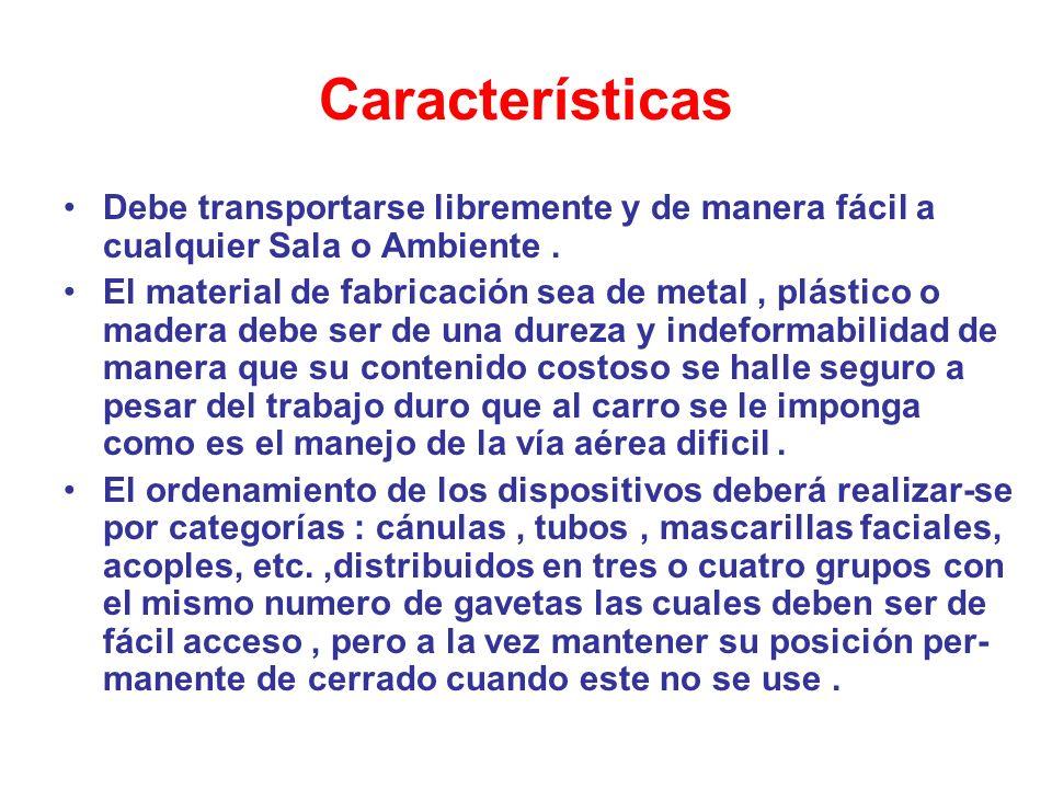 Características Debe transportarse libremente y de manera fácil a cualquier Sala o Ambiente .