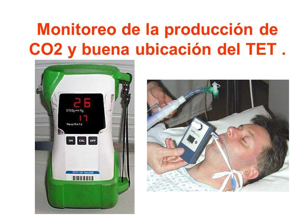 Monitoreo de la producción de CO2 y buena ubicación del TET .
