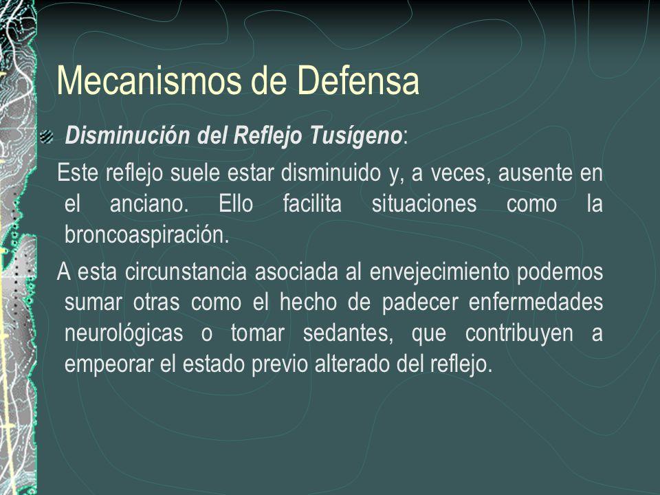 Mecanismos de Defensa Disminución del Reflejo Tusígeno: