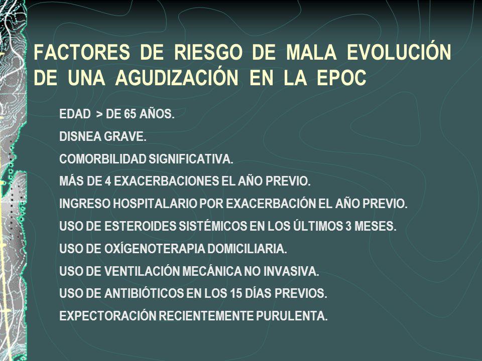FACTORES DE RIESGO DE MALA EVOLUCIÓN DE UNA AGUDIZACIÓN EN LA EPOC