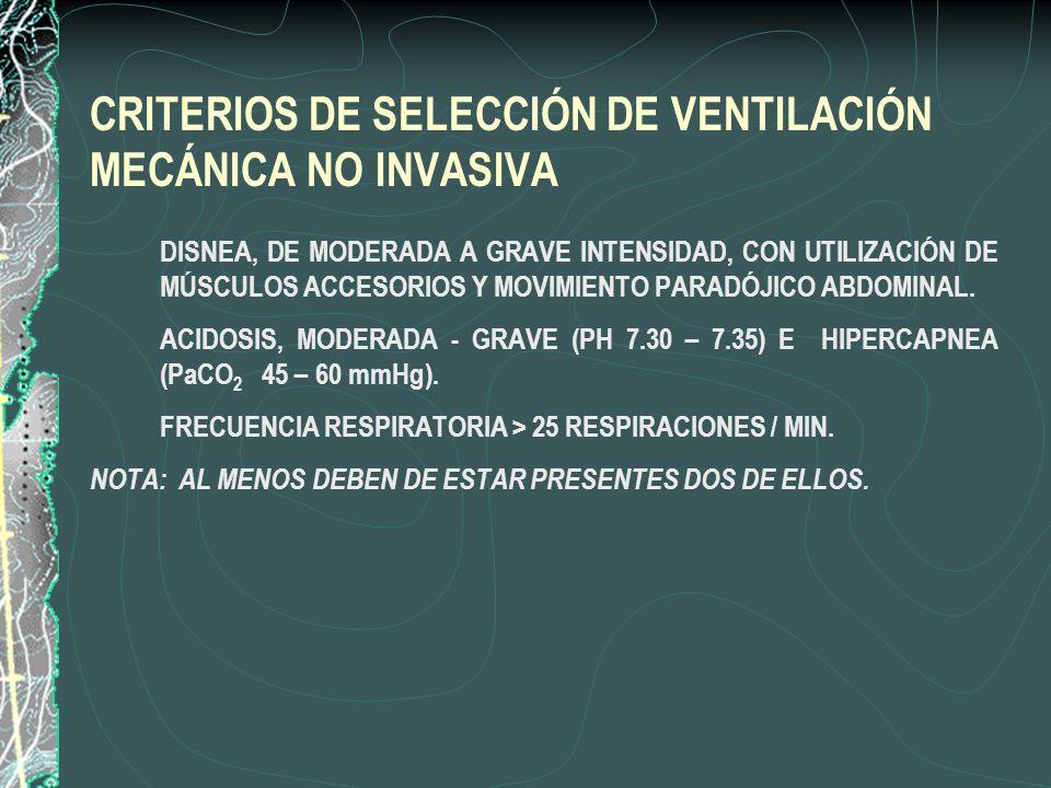 CRITERIOS DE SELECCIÓN DE VENTILACIÓN MECÁNICA NO INVASIVA