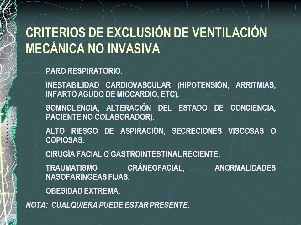 CRITERIOS DE EXCLUSIÓN DE VENTILACIÓN MECÁNICA NO INVASIVA
