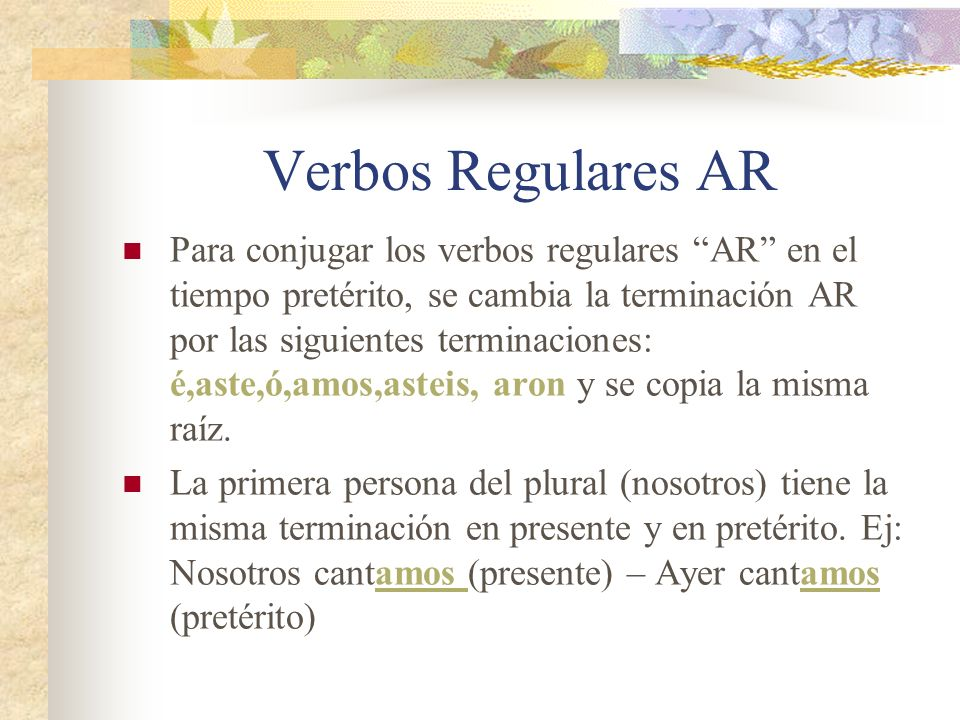 Verbos Regulares AR