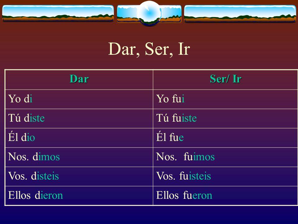 Dar, Ser, Ir Dar Ser/ Ir Yo di Yo fui Tú diste Tú fuiste Él dio Él fue