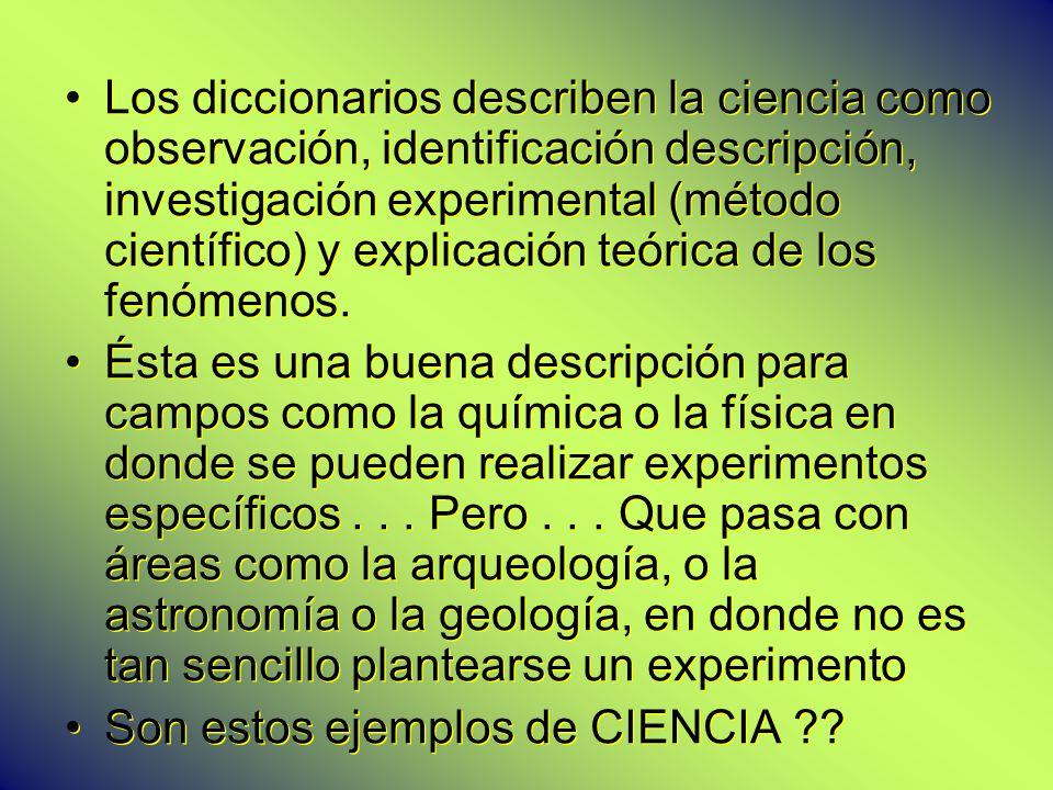 Los diccionarios describen la ciencia como observación, identificación descripción, investigación experimental (método científico) y explicación teórica de los fenómenos.