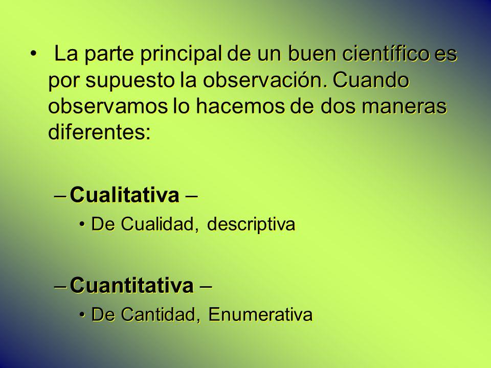 La parte principal de un buen científico es por supuesto la observación. Cuando observamos lo hacemos de dos maneras diferentes: