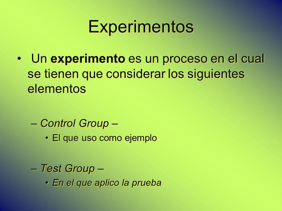 Experimentos Un experimento es un proceso en el cual se tienen que considerar los siguientes elementos.