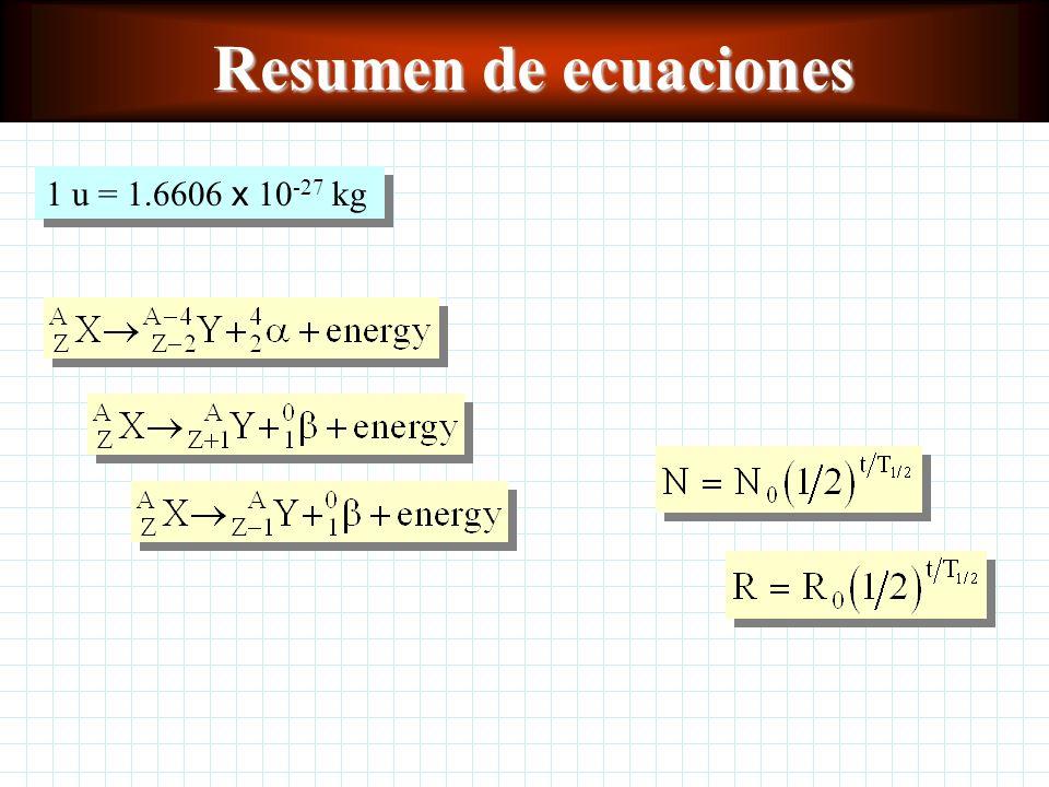 Resumen de ecuaciones 1 u = 1.6606 x 10-27 kg