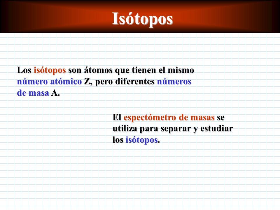 Isótopos Los isótopos son átomos que tienen el mismo número atómico Z, pero diferentes números de masa A.