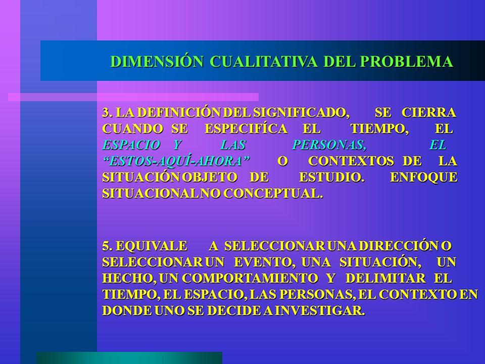 DIMENSIÓN CUALITATIVA DEL PROBLEMA