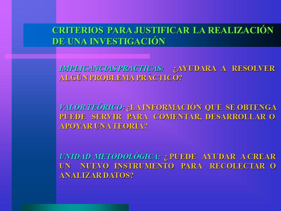 CRITERIOS PARA JUSTIFICAR LA REALIZACIÓN DE UNA INVESTIGACIÓN