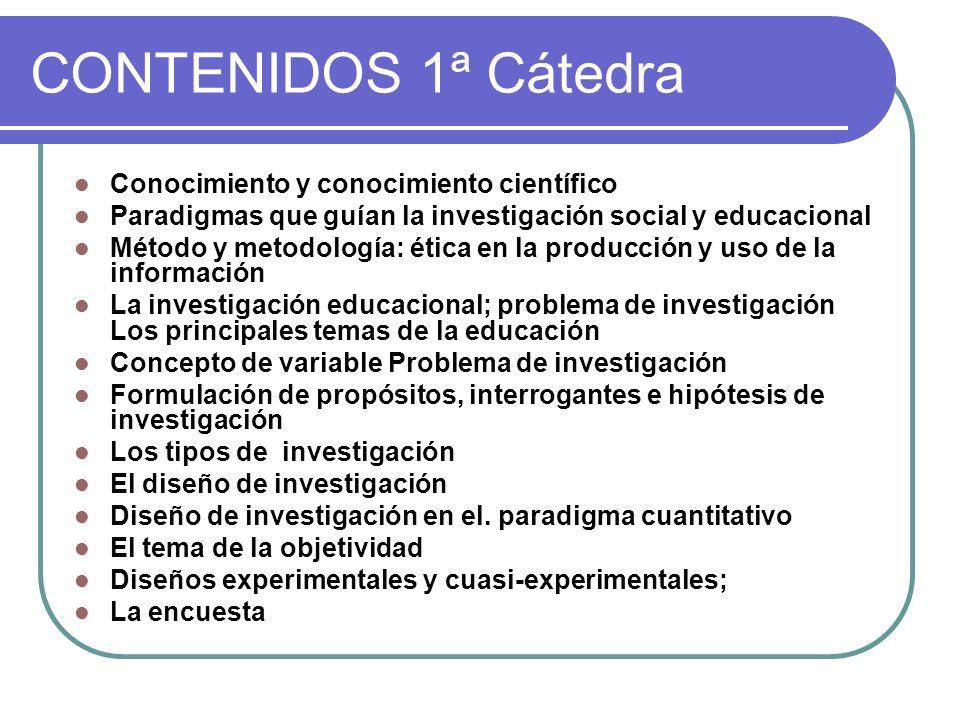 CONTENIDOS 1ª Cátedra Conocimiento y conocimiento científico