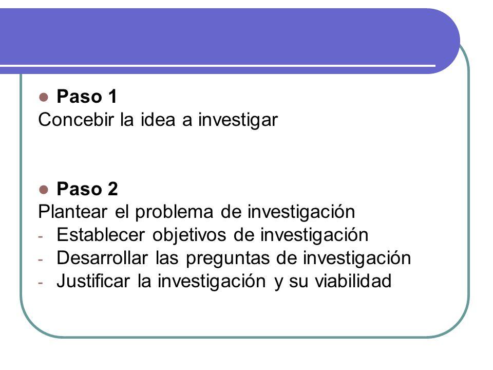 Paso 1 Concebir la idea a investigar. Paso 2. Plantear el problema de investigación. Establecer objetivos de investigación.