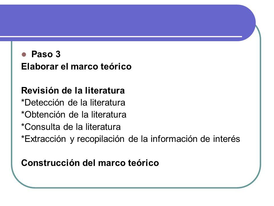 Paso 3 Elaborar el marco teórico. Revisión de la literatura. *Detección de la literatura. *Obtención de la literatura.