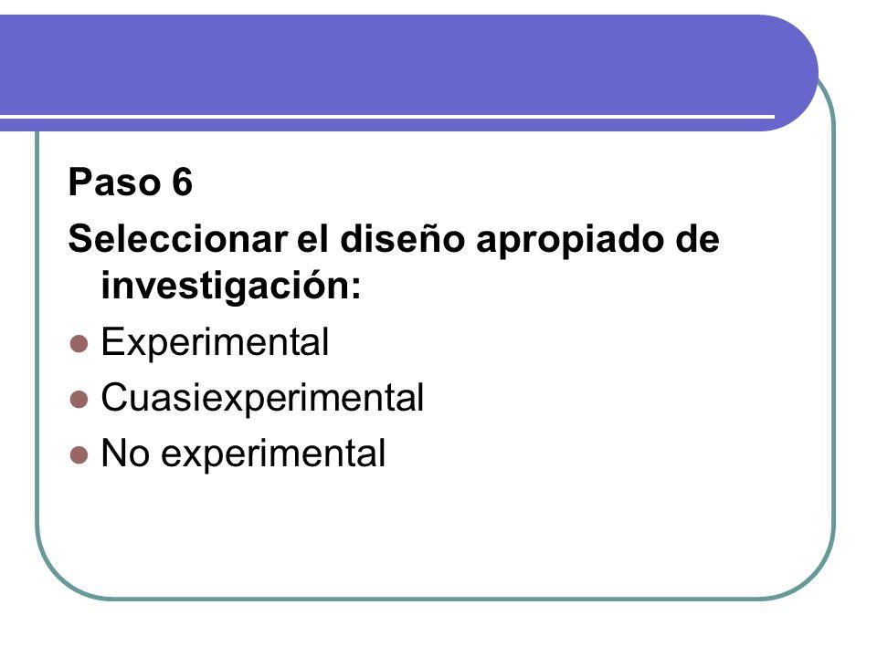 Paso 6 Seleccionar el diseño apropiado de investigación: Experimental.