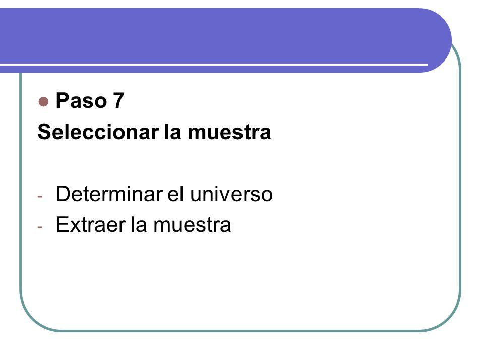 Paso 7 Seleccionar la muestra Determinar el universo Extraer la muestra
