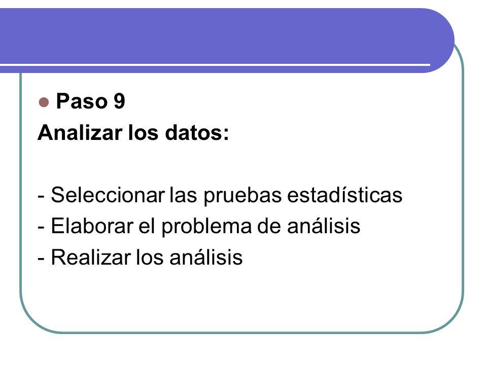 Paso 9 Analizar los datos: - Seleccionar las pruebas estadísticas. - Elaborar el problema de análisis.