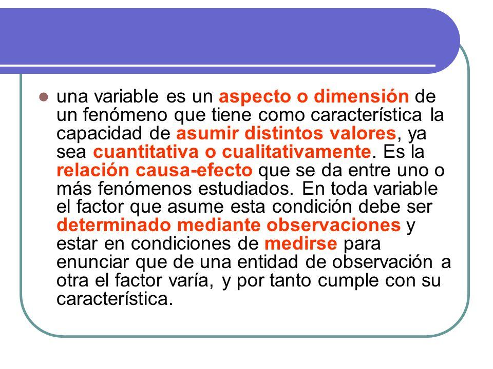 una variable es un aspecto o dimensión de un fenómeno que tiene como característica la capacidad de asumir distintos valores, ya sea cuantitativa o cualitativamente.