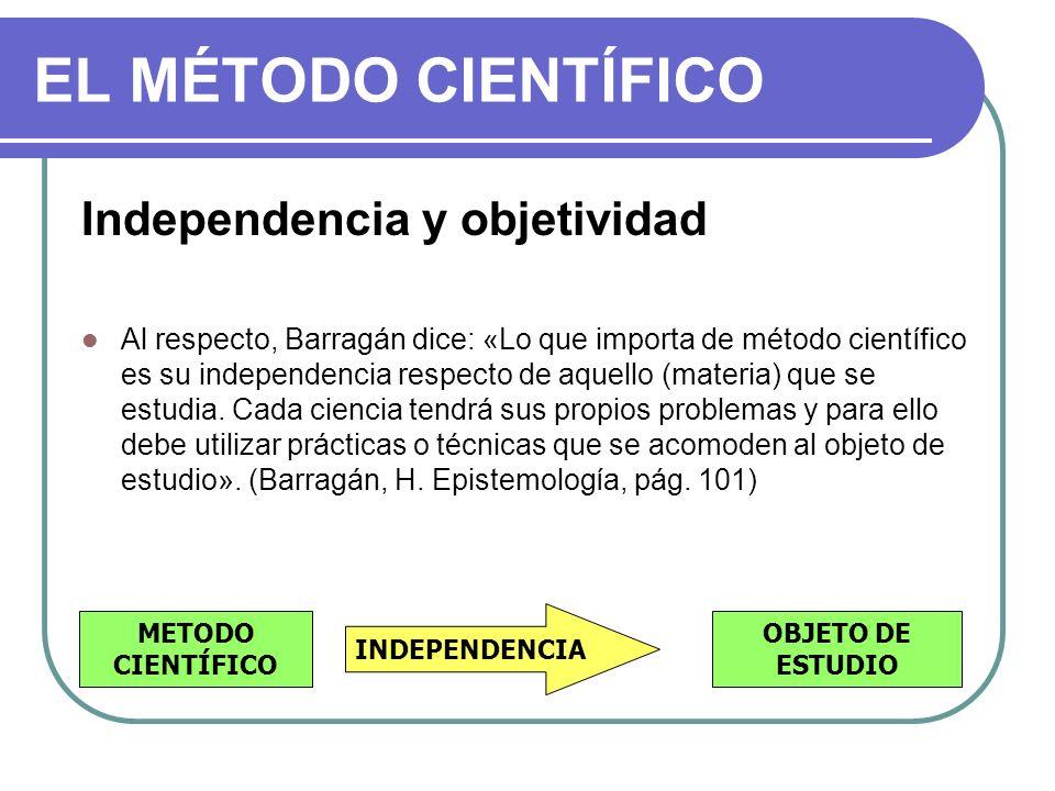 EL MÉTODO CIENTÍFICO Independencia y objetividad