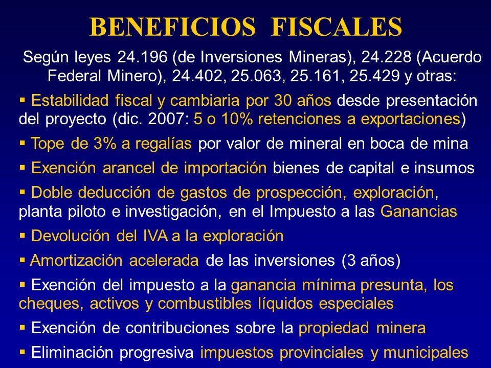 BENEFICIOS FISCALES Según leyes 24.196 (de Inversiones Mineras), 24.228 (Acuerdo Federal Minero), 24.402, 25.063, 25.161, 25.429 y otras: