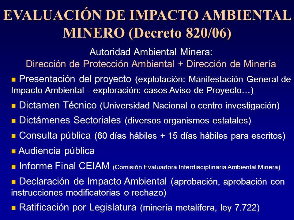 EVALUACIÓN DE IMPACTO AMBIENTAL MINERO (Decreto 820/06)