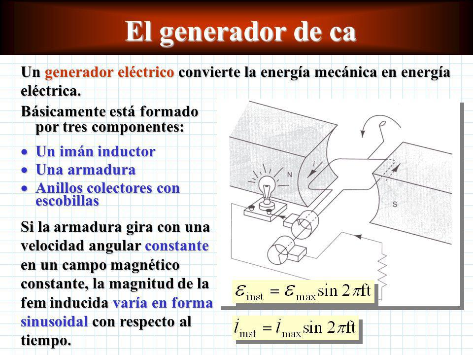 El generador de ca Un generador eléctrico convierte la energía mecánica en energía eléctrica. Básicamente está formado por tres componentes: