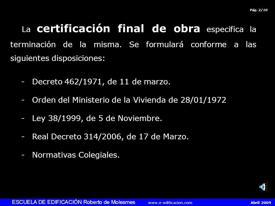 Orden del Ministerio de la Vivienda de 28/01/1972