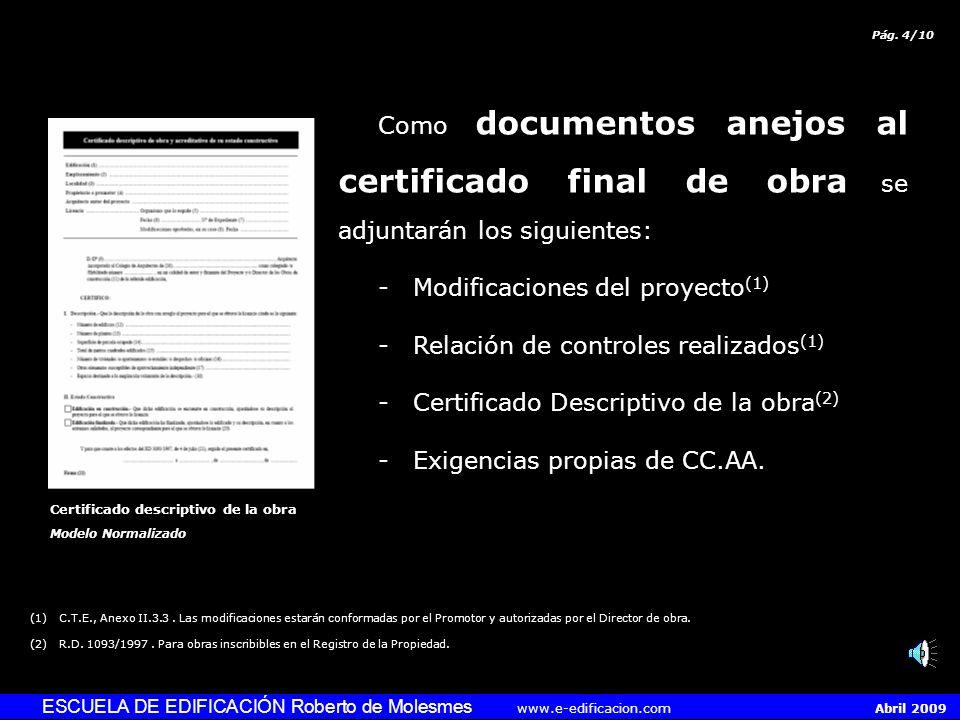 - Modificaciones del proyecto(1) - Relación de controles realizados(1)