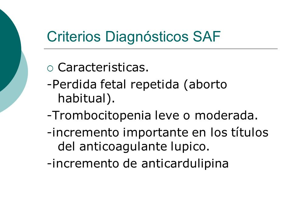 Criterios Diagnósticos SAF