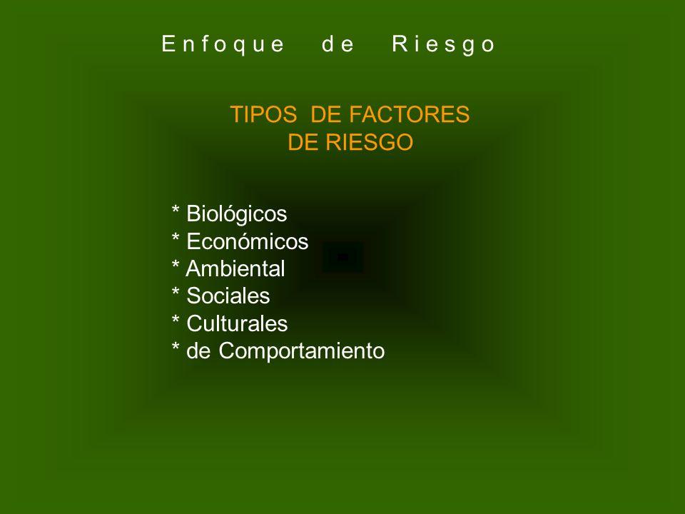 E n f o q u e d e R i e s g o TIPOS DE FACTORES. DE RIESGO. * Biológicos. * Económicos.