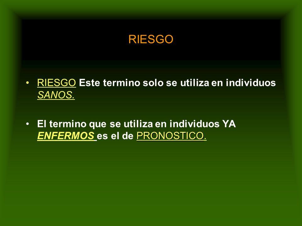 RIESGO RIESGO Este termino solo se utiliza en individuos SANOS.
