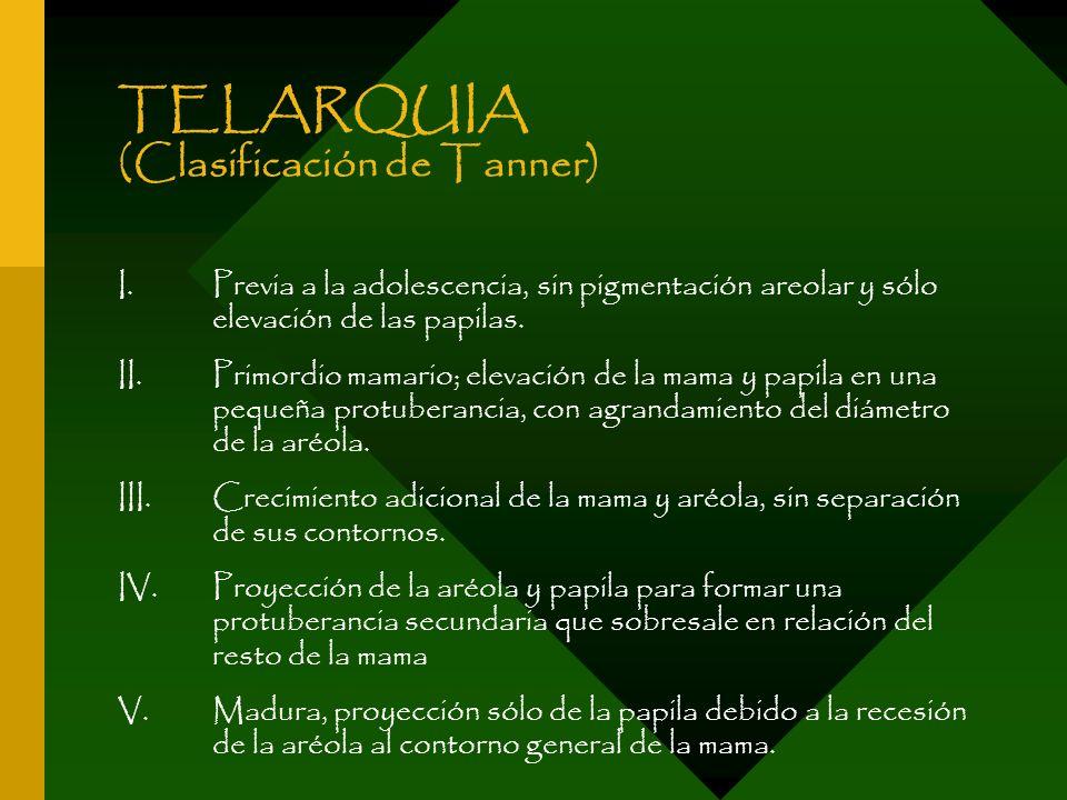 TELARQUIA (Clasificación de Tanner)