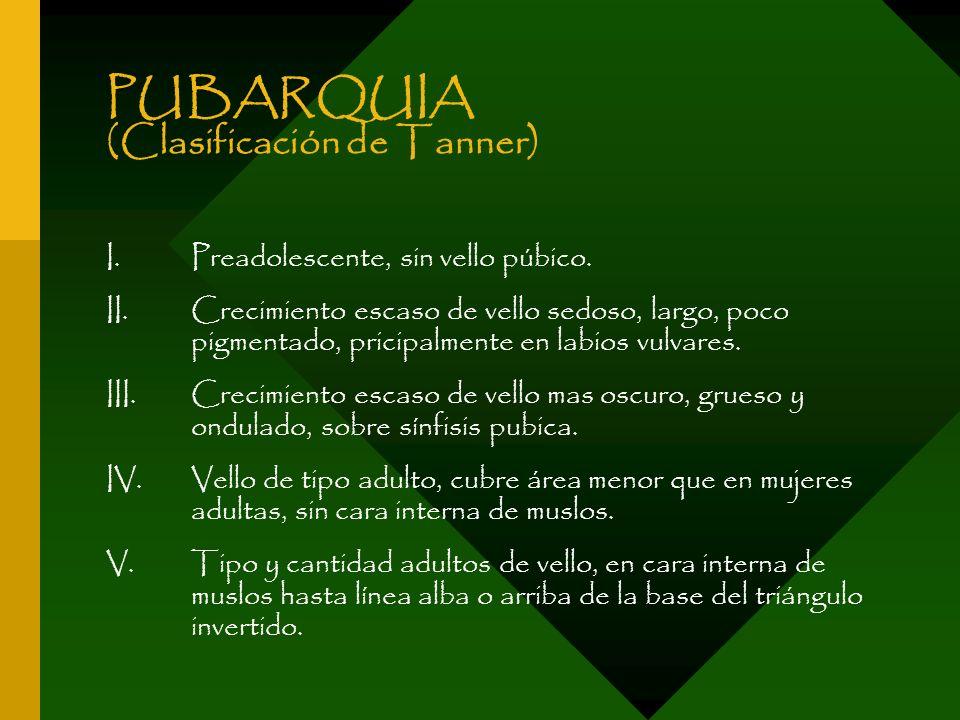 PUBARQUIA (Clasificación de Tanner)