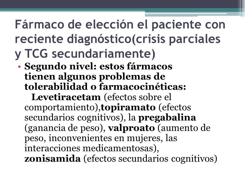 Fármaco de elección el paciente con reciente diagnóstico(crisis parciales y TCG secundariamente)