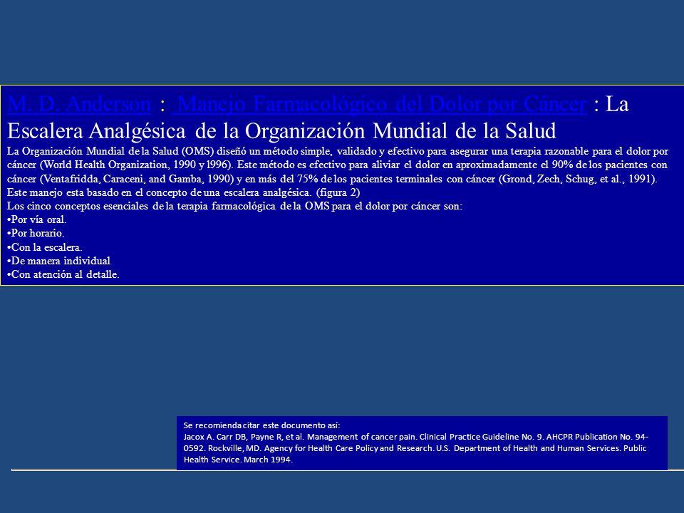 M. D. Anderson : Manejo Farmacológico del Dolor por Cáncer : La Escalera Analgésica de la Organización Mundial de la Salud