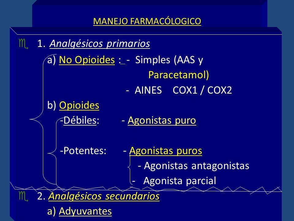 1. Analgésicos primarios a) No Opioides : - Simples (AAS y