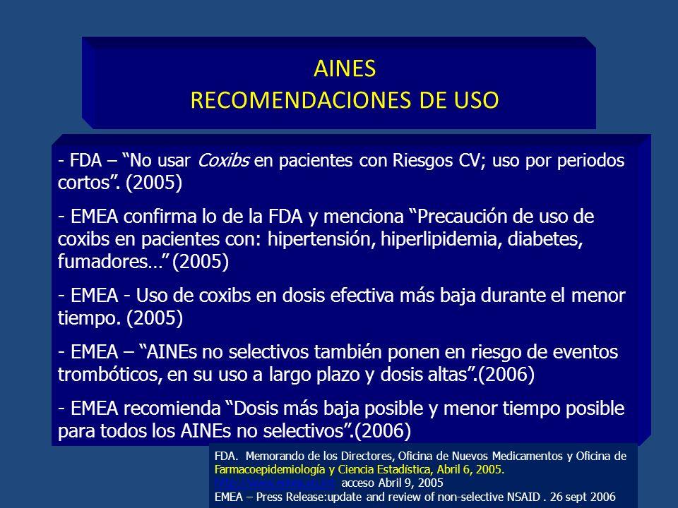 AINES RECOMENDACIONES DE USO