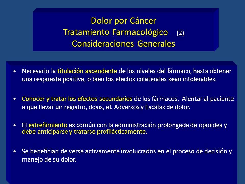 Tratamiento Farmacológico (2) Consideraciones Generales